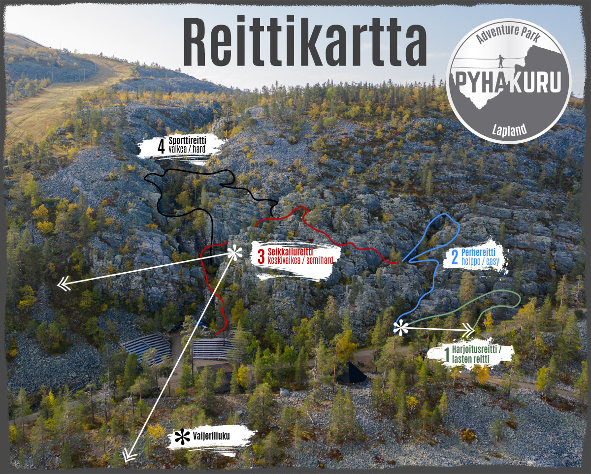 Pyhäkuru Adventure Park Reittikartta